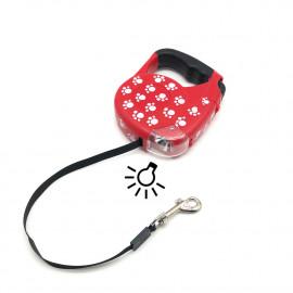 Laisse automatique avec lampe intégrée de L. 5 Mètres avec mousqueton rapide pour chien 20 kg max - 996160 - Beast