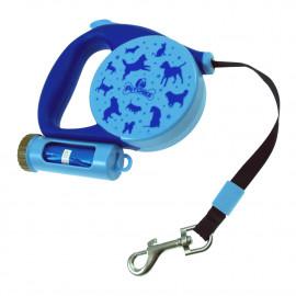 Laisse automatique L. 5 Mètres avec lampe intégrée et mousqueton rapide pour chien 20 kg max - 996160 - Beast