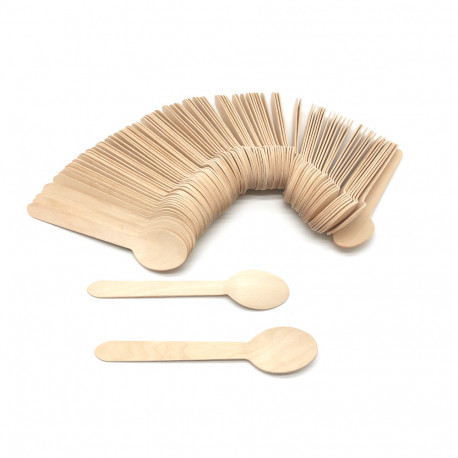 100 cuillères en bois jetables 34 x L. 160 mm, recyclable, biodégradable 100% Ecologique - 997070 - Beast