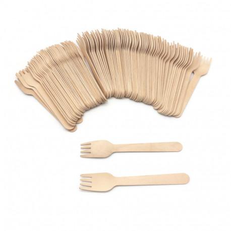 100 fourchettes en bois jetables 27 x L. 155 mm, recyclable, biodégradable 100% Ecologique - 997072 - Beast