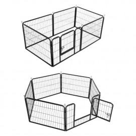 Parc modulable à chiots, enclos à chiens métal 160 x 80 x Ht. 80 cm avec porte d'accès - Animood