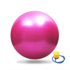 Ballon de gymnastique/ fitness anti-éclatement D. 65 cm en PVC (Rose) + pompe de gonflage - D-Work