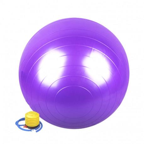 Ballon de gymnastique/ fitness anti-éclatement D. 65 cm en PVC (Violet) + pompe de gonflage - D-Work