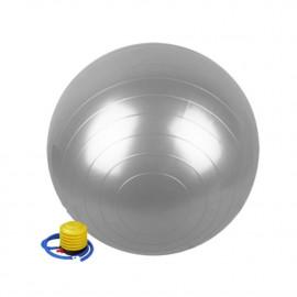 Ballon de gymnastique/ fitness anti-éclatement D. 65 cm en PVC (Gris) + pompe de gonflage - D-Work