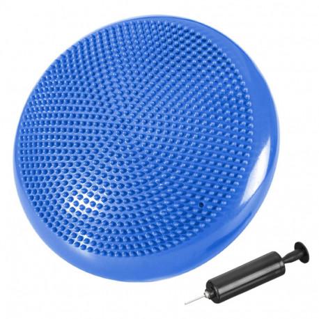 Coussin d'équilibre de gymnastique/ fitness anti-éclatement D. 33 cm en PVC (Bleu) + pompe de gonflage - D-Work