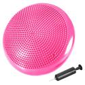 Coussin d'équilibre de gymnastique/ fitness anti-éclatement D. 33 cm en PVC (Rose) + pompe de gonflage - D-Work