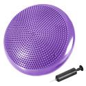 Coussin d'équilibre de gymnastique/ fitness anti-éclatement D. 33 cm en PVC (Violet) + pompe de gonflage - D-Work