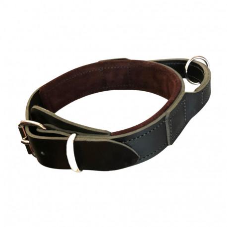 Collier de dressage cuir 50 mm ajustable 46 à 56 cm avec poignée et anneau pour sport canin - 328-BLACK - ABC Sport Klin