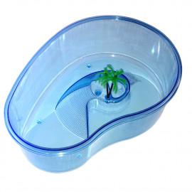 Bac piscine ovale 32 cm 3,5L pour tortue d'eau avec palmier et plage - A132 - Happet