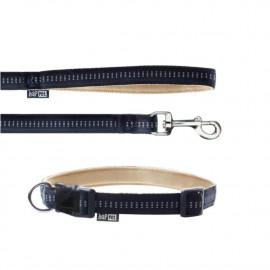 Laisse et collier Soft Style 1,5 cm taille M (27 à 42 cm) x L. 120 cm en nylon Beige/Noir pour chien - JB42 - Happet
