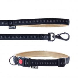 Laisse et collier Soft Style 2 cm taille L (33 à 53 cm) x L. 120 cm en nylon Beige/Noir pour chien - JB43 - Happet