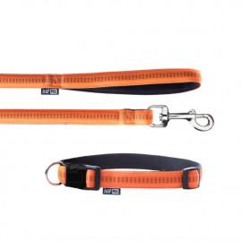 Laisse et collier Soft Style 1,5 cm taille M (27 à 42 cm) x L. 120 cm en nylon Orange/Noir pour chien - JP42 - Happet