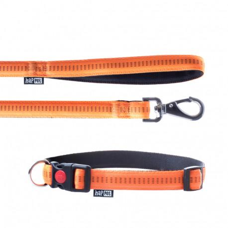 Laisse et collier Soft Style 2 cm taille L (33 à 53 cm) x L. 120 cm en nylon Orange/Noir pour chien - JP43 - Happet