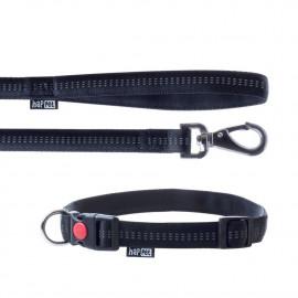 Laisse et collier Soft Style 2 cm taille L (33 à 53 cm) x L. 120 cm en nylon Noir réfléchissant pour chien - JR43 - Happet